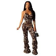Vintage Leopard Print Jumpsuit Women Sexy Halter Lace Up Backless Skinny Club Jumpsuit Elegant Boot Cut Pants Overalls Romper цены