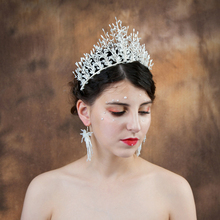 TRiXY H193 Luxury Small White Tube Wedding Tiara and Crown Silver Wedding Headband for Bride Bridal Hair Accessories Rhinestone