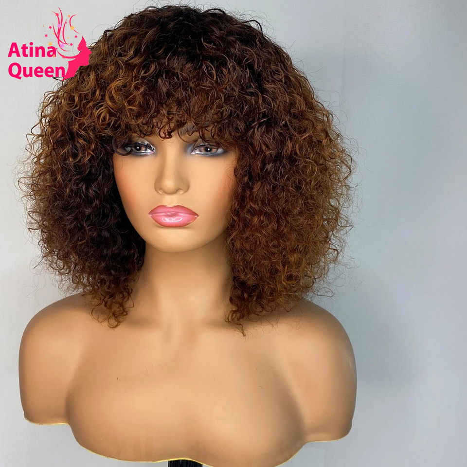 Honey Blonde Pixie Cut Afro Full Machine Made Wig Jerry Curl Short Bob Natural Hair Human Hair Wigs Pre Plucked For Black Women Full Machine Wigs Aliexpress
