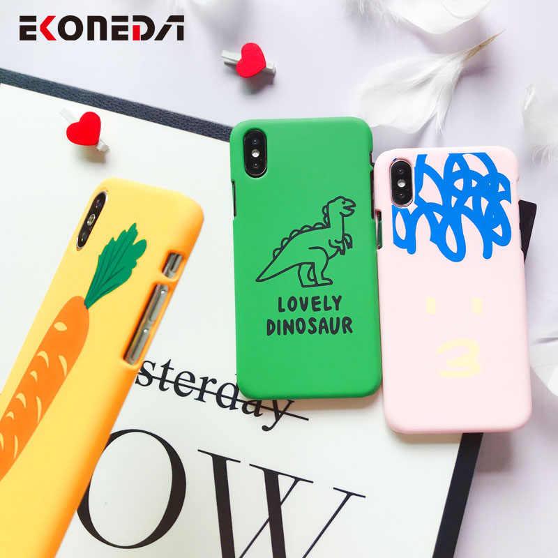 Ekoneda matte caso do telefone para o iphone 6 s 7 plus 8 8 plus x xs max bonito palavras modeladas capa de plástico coque para iphone 7 caso