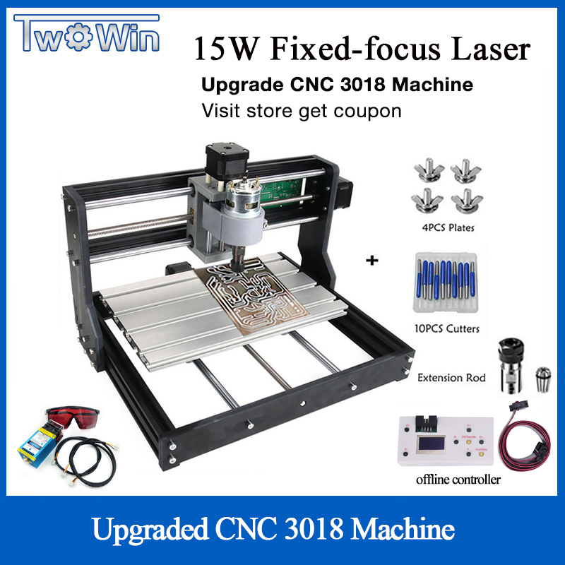15W Controle DIY Mini Máquina A Laser CNC 3018 Pro GRBL 3 Eixo PCB Milling Router Madeira Máquina de Gravura do Laser controlador Offline