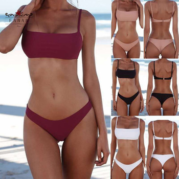 Bikini  Swimsuit Women Bathing Suit Summer Beachwear Pure Color Push Up Padded Swimsuit Women Bikini Summer Beachwear Fashion