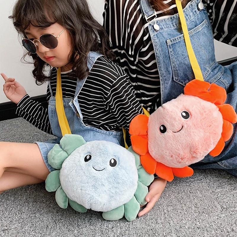 Children Girls Bags Plush Messenger Bag Kindergarten Baby Shoulder Fashion Cartoon Crab Zipper Boys Cute