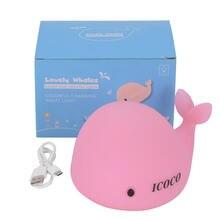 Icoco bonito macio silicone golfinho led bebê crianças bater palmas noite luz cores mutáveis usb recarregável sensível toque controle