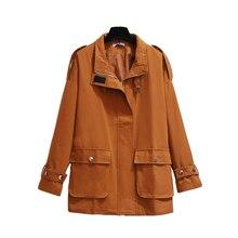 Foxmertor Женская ветровка большого размера 2XL-6XL2019 новое зимнее хлопковое пальто однотонное модное повседневное теплое плотное пальто