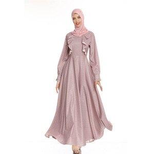 Fashion Abaya Women Ruffle Maxi Dress Muslim Jilbab Party Gown Turkish Caftan Ramadan Cocktail Robe Islamic Clothing Dubai Abaya