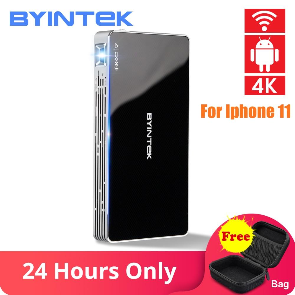 7.1.2 BYINTEK UFO P10 Portátil Home Theater Inteligente Android OS Wifi Mini HD LED Projetor dlp Para 1080P Full MAX K para Iphone 4 11