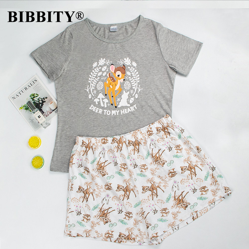 Pajamas For Women Short Sleeve Cotton Womens Pajamas Sleepwear Cartoon Pajama Set  Cotton Pyjamas Women Cute Sleepwear