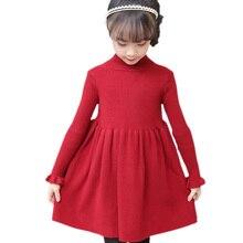 الفتيات فستان الصلبة محبوك فستان الفتيات الياقة المدورة سترة فستان فتاة الخريف الشتاء الاطفال الفتيات الملابس 6 8 10 12 14 سنة