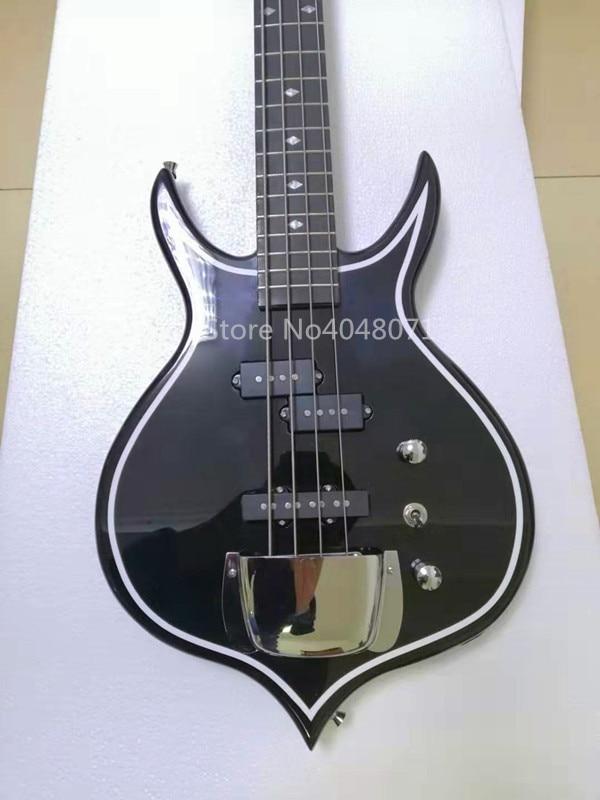 Transport gratuit, guitare basse électrique 4 cordes, corps noir, personnalisable
