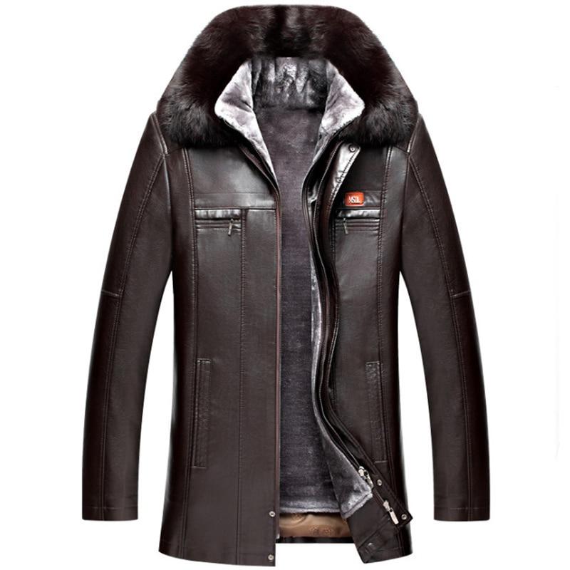 Russia Winter Real Fur Collar Leather Jacket Men Thicken Long Windbreaker Coat New Fashion Warm Leather Jacket Male Black Brown