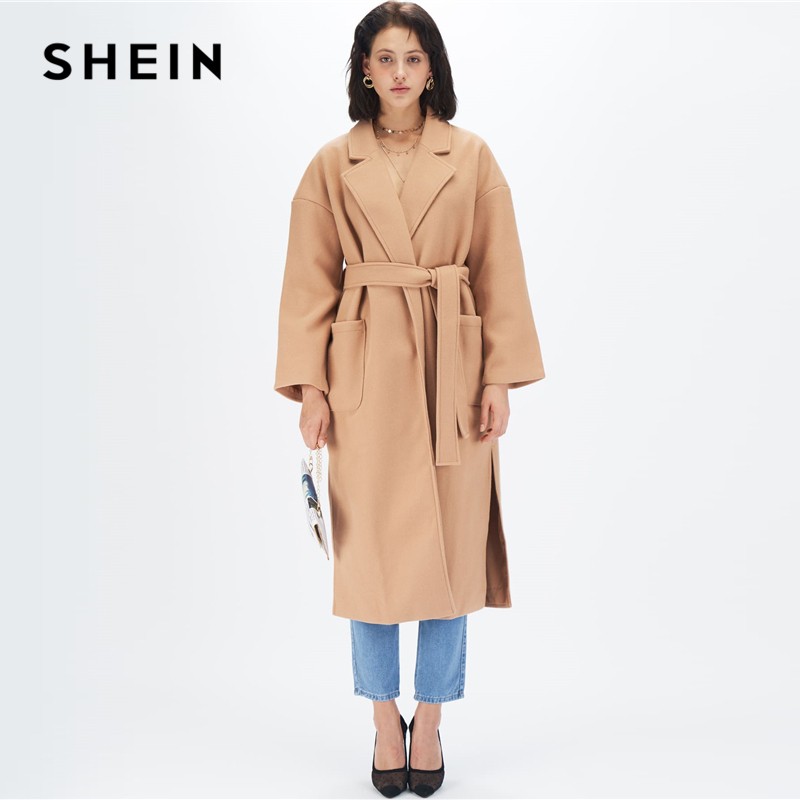 SHEIN Camel Notched Collar Split Hem Elegant Belted Trench Coat Women Autumn Solid Double Pocket Front Office Long Outerwear 1