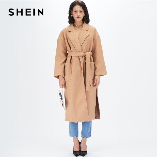 SHEIN Camel col cranté ourlet fendu élégant ceinturé Trench Coat femmes automne solide Double poche avant bureau longue vêtements dextérieur