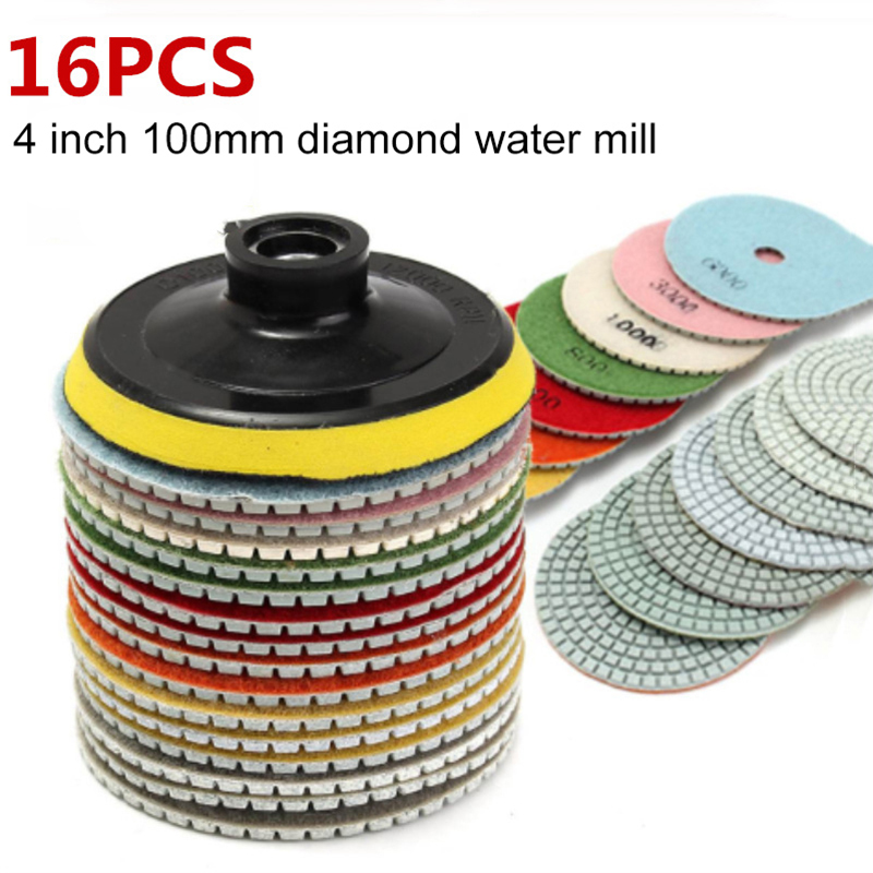 16pcs 4 Inch 100mm Diamond Polishing Pads Kit Wet/Dry For Granite Stone Concrete Marble Polishing Use Floor Grinding Discs Set