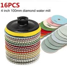 цена на 16pcs 4 inch 100mm Diamond Polishing Pads Kit Wet/Dry for Granite Stone Concrete Marble Polishing Use floor Grinding Discs Set