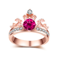 New Crown Fashion Gold Plated Ring Creative Diamond Ring Premium Temperament Jewelry Ball Party Birthday Party