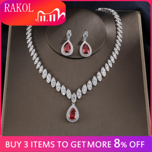 Image 1 - RAKOL Dubai Luxury Water Drop Cubic Zircon Necklace Earrings Bridal Sets for Women Shinny Crystal Wedding Party Dress Jewelry