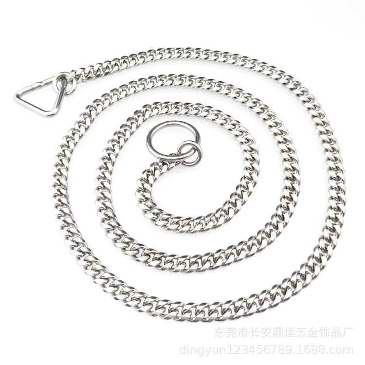Hot Push Stainless Steel Pet Chain Dog Collar P Pendant Titanium Steel Dog Pendant Circular Grinding
