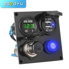 Cigarette-Lighter-Adapter Coche-Charger Voltmeter Waterproof Usb 12v Plug Multifunctional