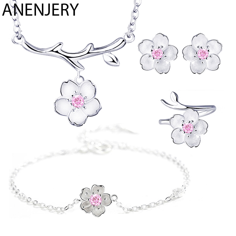 ANENJERY S925 Stamp Silver Color Jewelry Sets Romantic Cherry Blossoms Flower Necklace+Earrings+Ring+Bracelet For Women