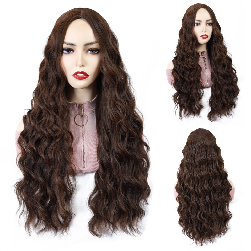 Women's Brown Wigs Lolita Long Curly Synthetic Hair Heat Resistant Middle Part Line Cosplay Wig Red Blonde image