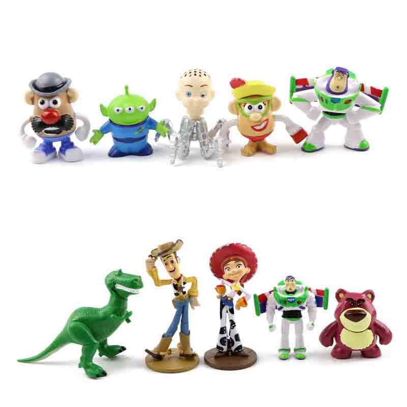 10pcs lot 3 8cm Toy Story 3 Woody Buzz Lightyear Jessie PVC Action Figure Toys Dolls Children Gifts B704 in Action Toy Figures from Toys Hobbies