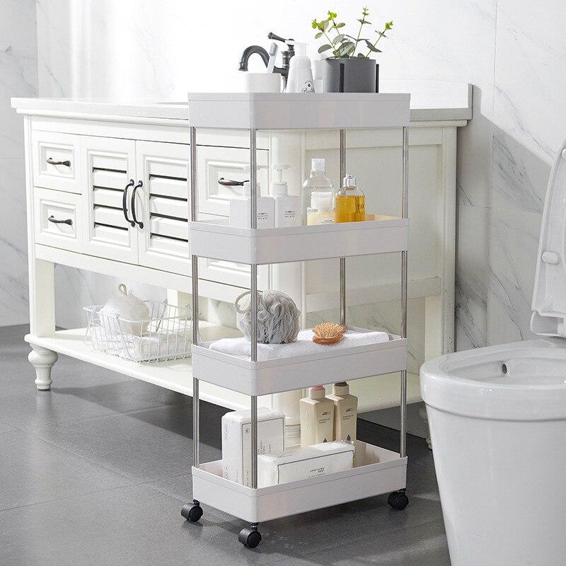Rack de armazenamento móvel de 4 camadas, rack de armazenamento para banheiro, cozinha, armário, sala de estar, prateleira móveis, rodas móveis prateleira