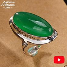 S925 Fine Antique shop Rings Emerald Rings Luxury  Women Handmade Vintage Natural Chalcedony moldavite peridot  ar