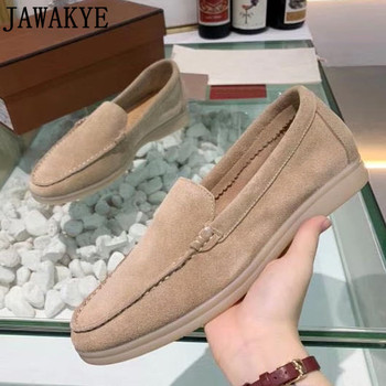 Candy Color Suede Comfortable Flat casual Shoes for Women Round Toe slip on spring autumn real leather driving lazy loafers