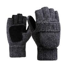 1 Pair Women/Men  Half Finger Gloves Thermal Mittens Knitted Gloves Half Finger Flip Winter Warm  Gloves Thermal Glove oumily outdoor tactic half finger gloves khaki size l pair