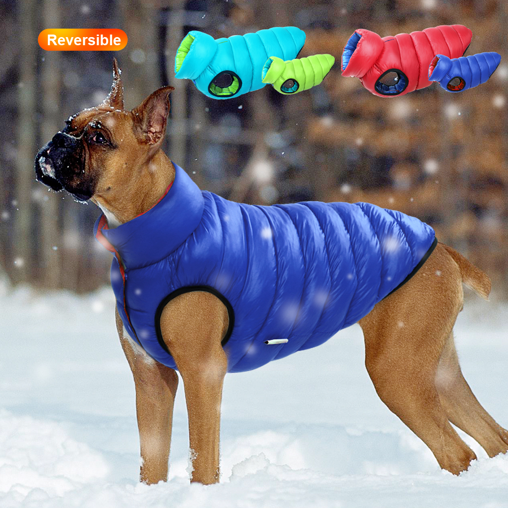 Warm Winter Dog Clothes Vest Reversible Dogs Jacket Coat 3 Layer Thick Pet Clothing Waterproof Outfit for Small Large Dogs 1