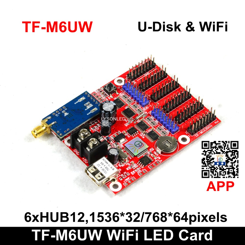 Hot Sale TF-M6UW WIFI & USB Driver <font><b>LED</b></font> Display <font><b>Control</b></font> <font><b>Card</b></font> 2xHUB08 6xHUB12 Max768*64Pixels <font><b>P10</b></font> Single Color <font><b>LED</b></font> <font><b>Module</b></font> image