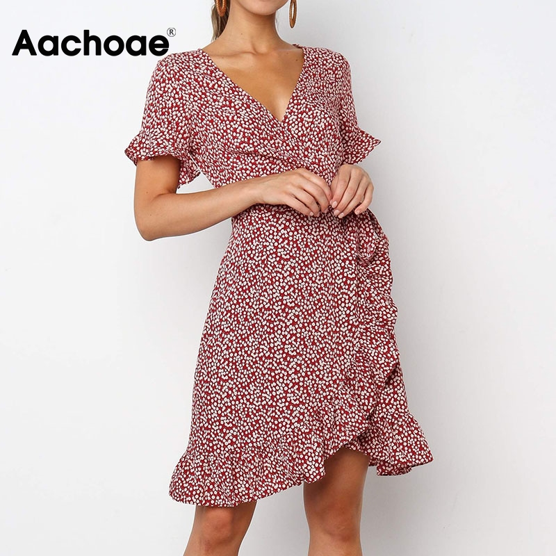 Aachoae Summer Floral Print Boho Ruffle Mini Dress Women 2020 A Line Short Sleeve Party Dresses Sexy V Neck Wrap Beach Dress