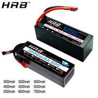 HRB-batería Lipo 4S de 14,8 V para coche de control remoto, batería de litio de 3000 mah, 3300mah, 3600 mah, 4000mah, 5200mah, Deans T Plug, carcasa rígida TRX XT60