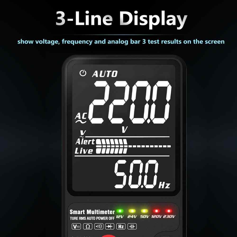 """BSIDE ulepszona multimetr cyfrowy tester napięcia 3.5 """"EBTN wyświetlacz LCD 3-Line wyświetlacz TRMS Ohm Hz z analogowe Bar i 5 wskaźnik LED DMM"""