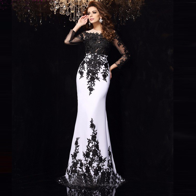 Elegant Vestido De Noiva Black White Long Sleeve Mermaid Lace Long Robe De Soiree Appliques 2018 Mother Of The Bride Dresses