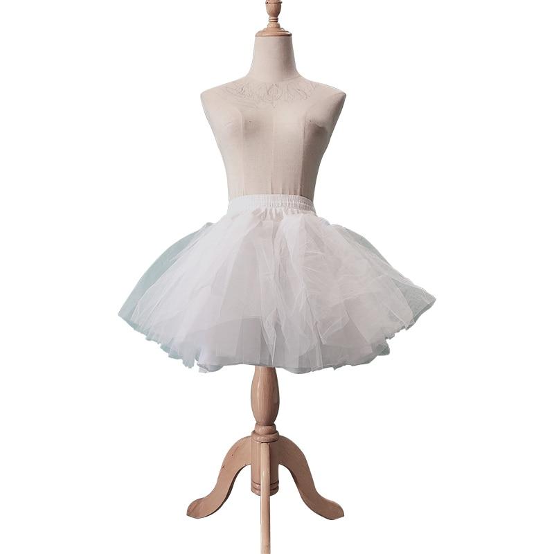 Cheap White Seersucker Retro Pleated Skirt Petticoat Lady Short Mini Princess Fluffy Skirt Festival Gala Prom Ballet Underskirt