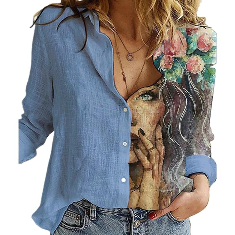 Fashion Retro Portrait Floral Print Women Shirt Autumn Stitching Button Long Sleeve Cotton Linen Blouses Casual Street Lady Top|Blouses & Shirts| - AliExpress