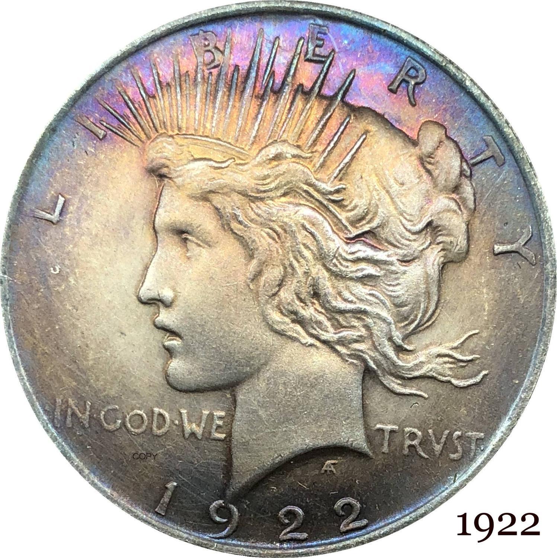 Соединенные Штаты 1922 свобода, два лица, одна и та же монета в Бог, мы доверяем 1 доллару мира, купроникель, посеребренные копировальные монеты