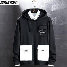 SingleRoad erkek Hoodies 2020 cepler moda kazak Hip Hop Harajuku japon Streetwear siyah Hoodie erkekler tişörtü erkek