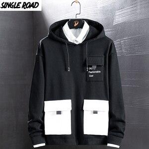 Image 1 - Singload męskie bluzy 2020 kieszenie moda bluza Hip Hop Harajuku japońska moda uliczna czarna bluza z kapturem męskie bluzy męskie