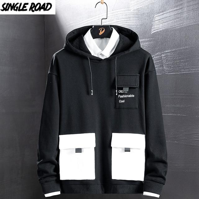 Singload męskie bluzy 2020 kieszenie moda bluza Hip Hop Harajuku japońska moda uliczna czarna bluza z kapturem męskie bluzy męskie