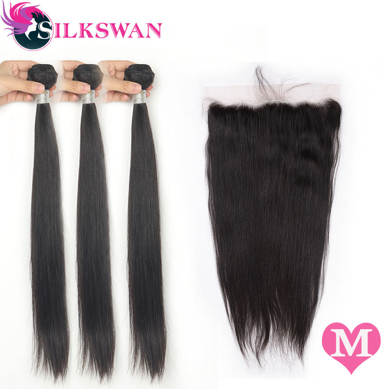 Silkswan Hair Brazilian Straight Middle Ratio Human Hair 3 Bundles With Frontal 13*4 Ear To Ear Lace Frontal  Remy Hair 8-26Inch