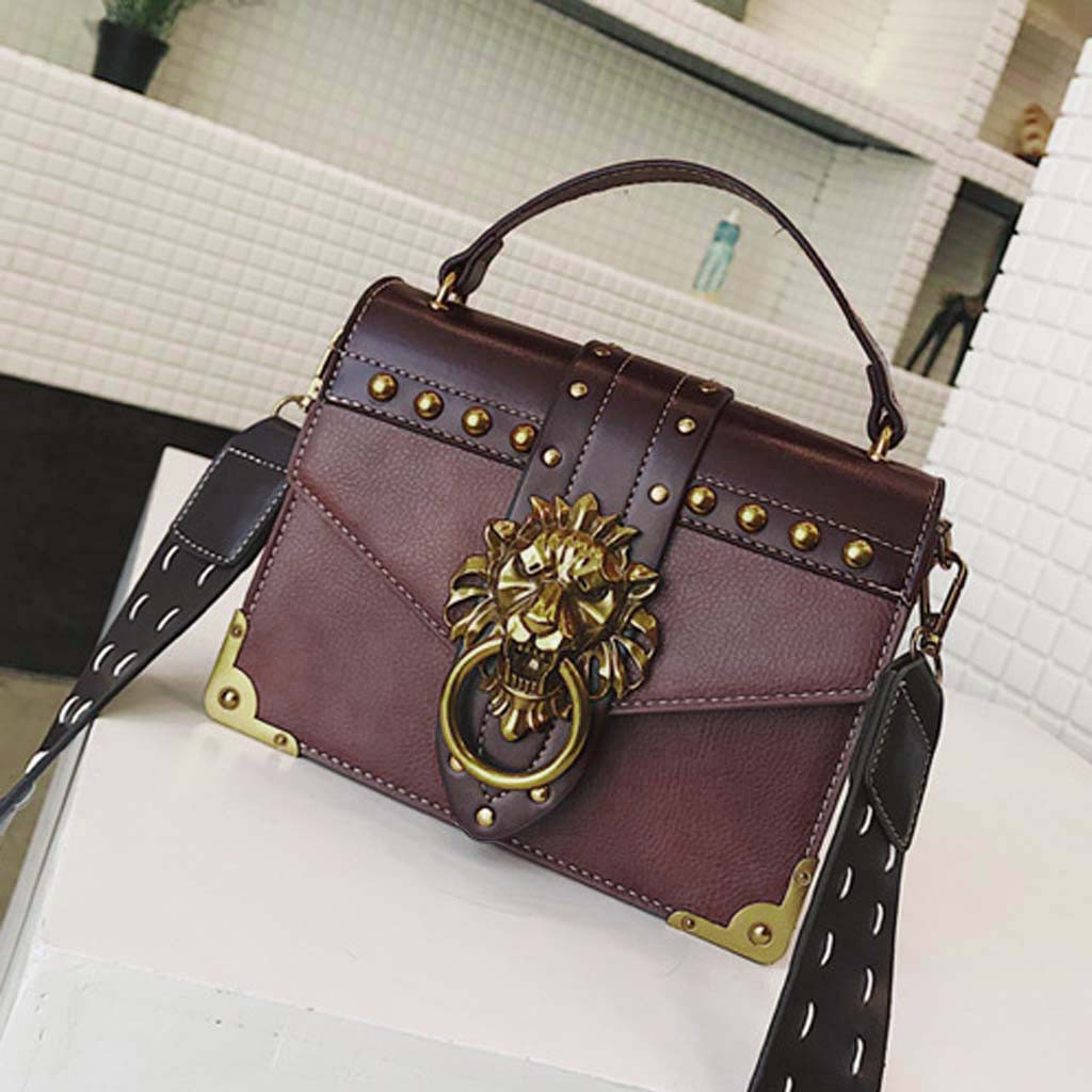 H6f318da3bc6f40938c15e8f24078fbc2I - Handbags Women Bags  Golden Lion Tote Bag With Zipper Fashion Metal Head Shoulder Bag Mini Square Crossbody Bag G3