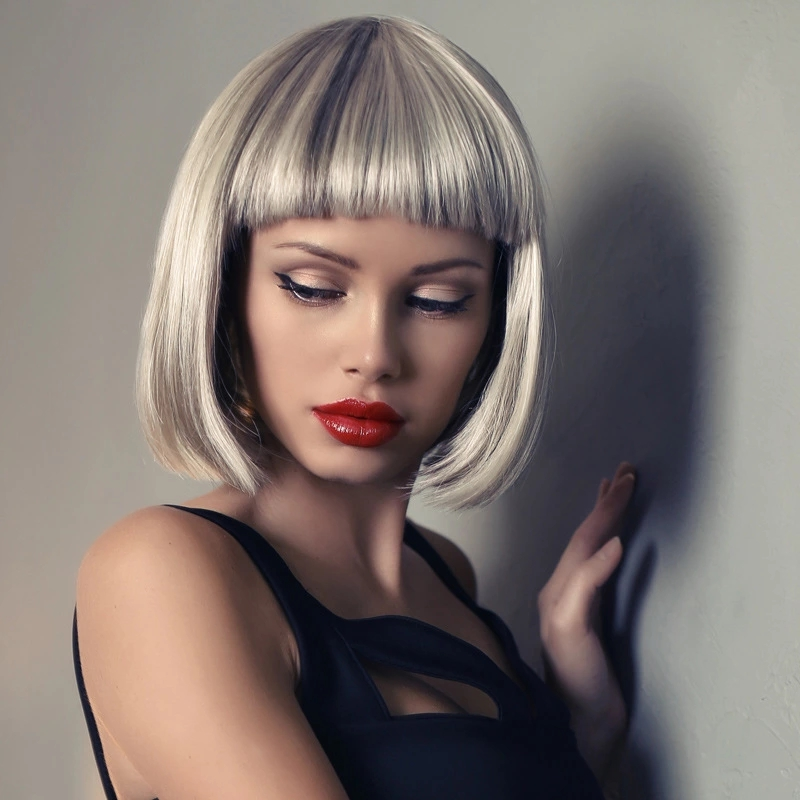 peruca sintética resistente ao calor natural falso cabelo