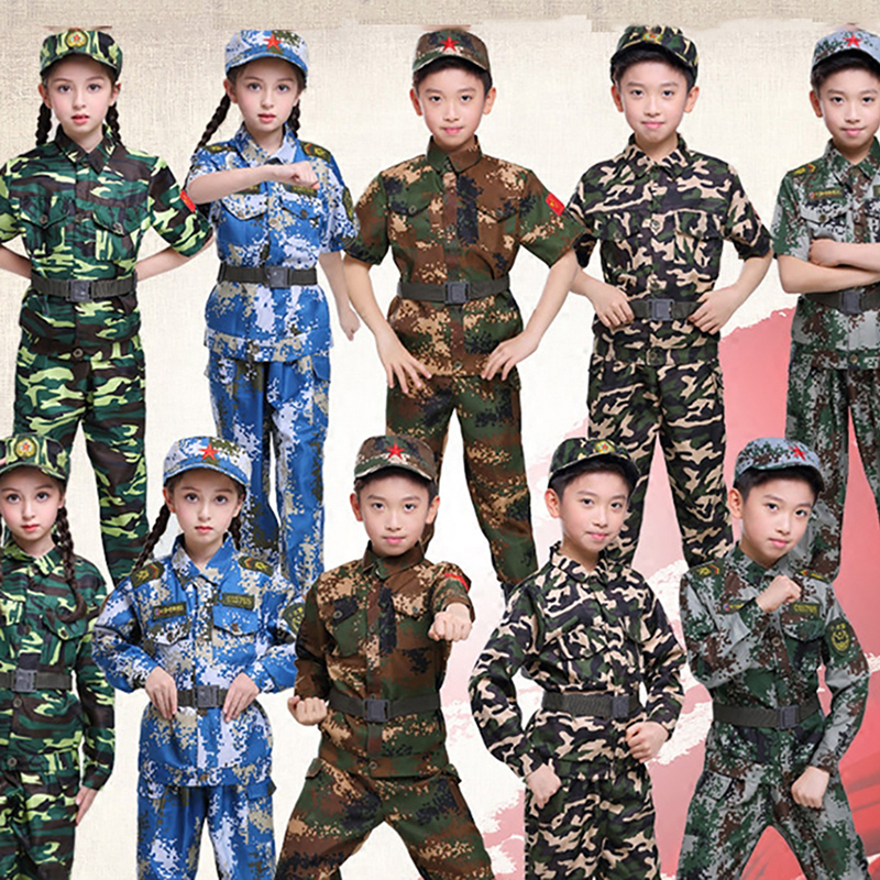 Halloween Costumes For Kids Baby Girl Boy Military Army Suit Uniform Performan Clothing Camouflage Tactical Men Soldier School