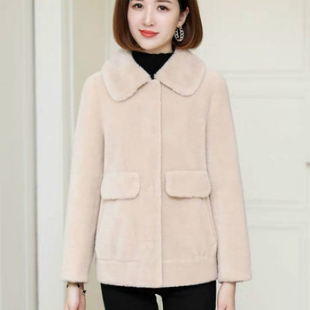 Fashion Real Wool Fur Solid Color Short Lapel Coats Natural Fox Fur Jacket Outwear Luxury Women 2021 Winter Plus Size Y11 image