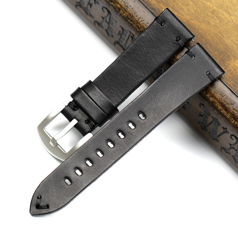 Image 4 - Handmade 20mm 22mm Balck with Black White Red stitches Cowhide Genuine leather Watchband For Mido DW Casual Watch Strap Belt-in Watchbands from Watches