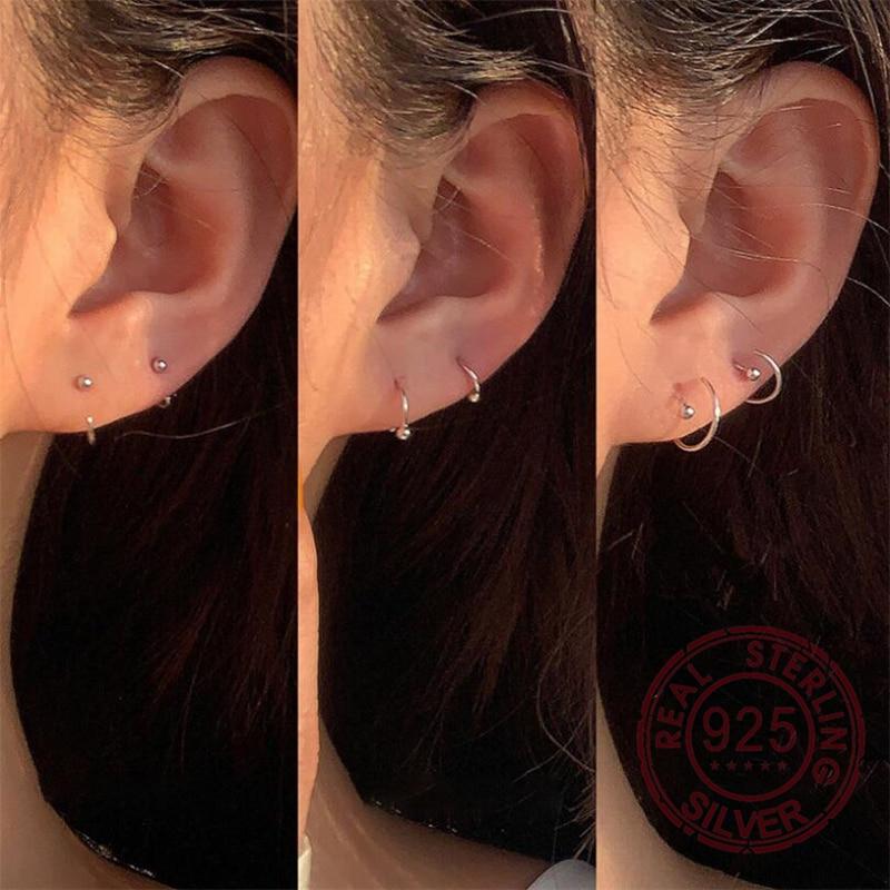 925 brincos de prata esterlina para as mulheres mini pequena bola redonda hoop brincos orelha osso fivela círculo redondo bijoux aretes