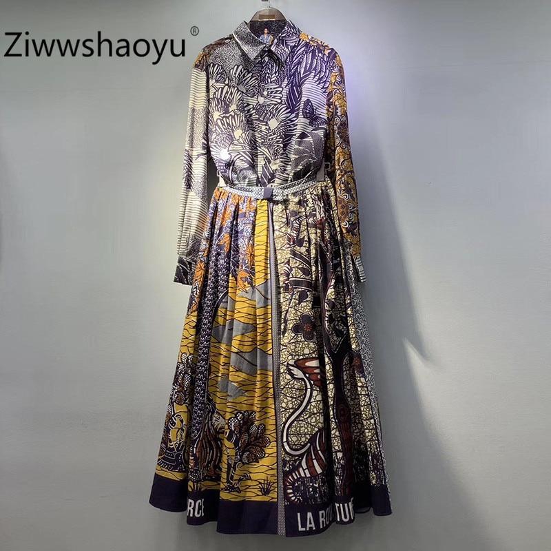 Ziwwshaoyu Cotton Vintage Totem Printing High Waist Pleated Maxi Skirt Women's Spring Summer High Quality Clothing